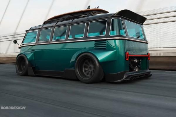 Volkswagen Bus kao trkačka Porsche mašina